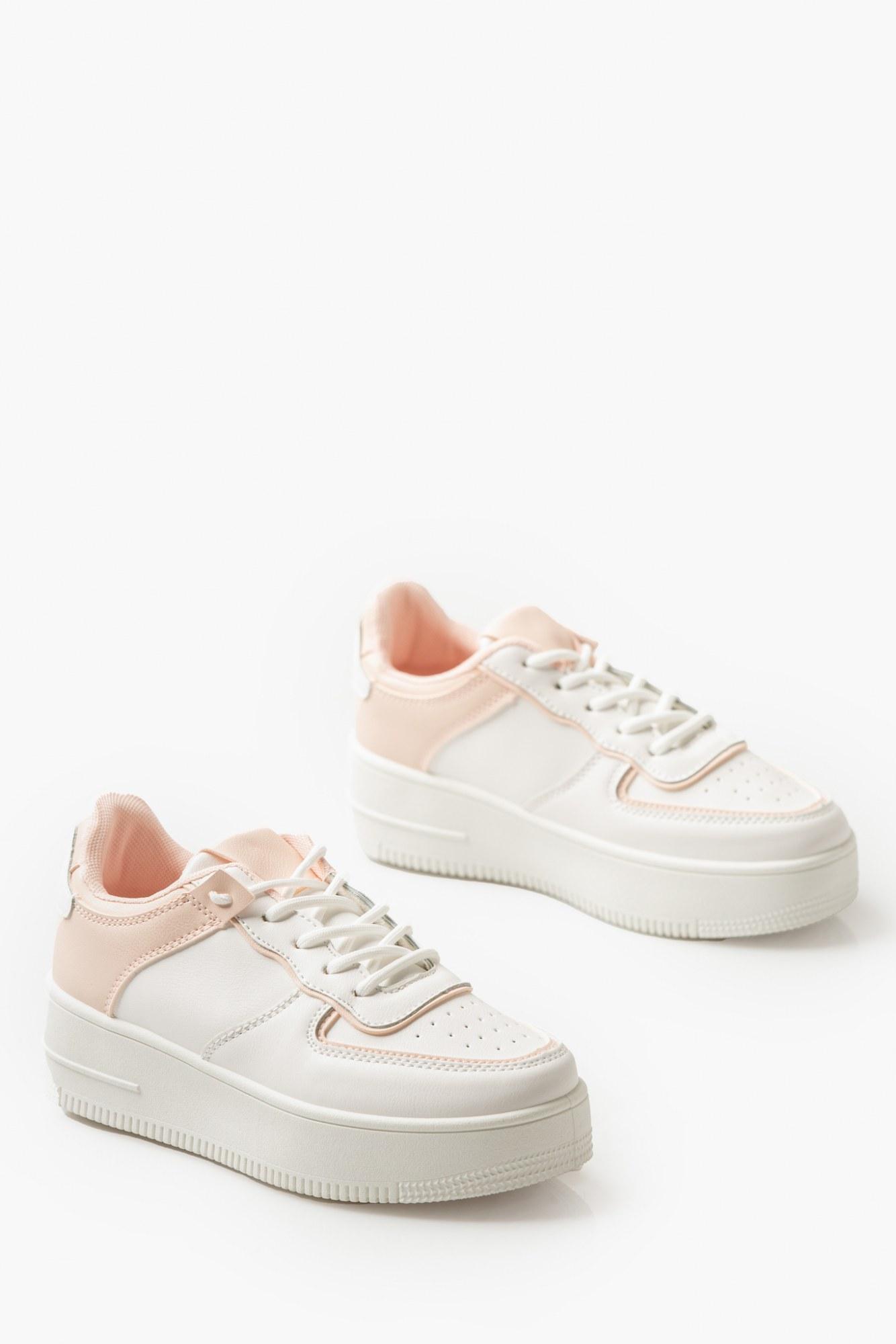 Sneakers λευκά δίπατα με ροζ λεπτομέρειες