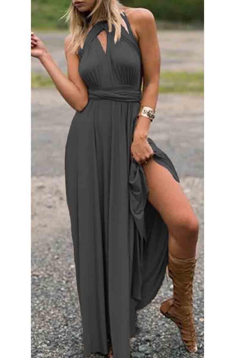 38fea5af2229 Φόρεμα γκρι σκούρο πολυμορφικό