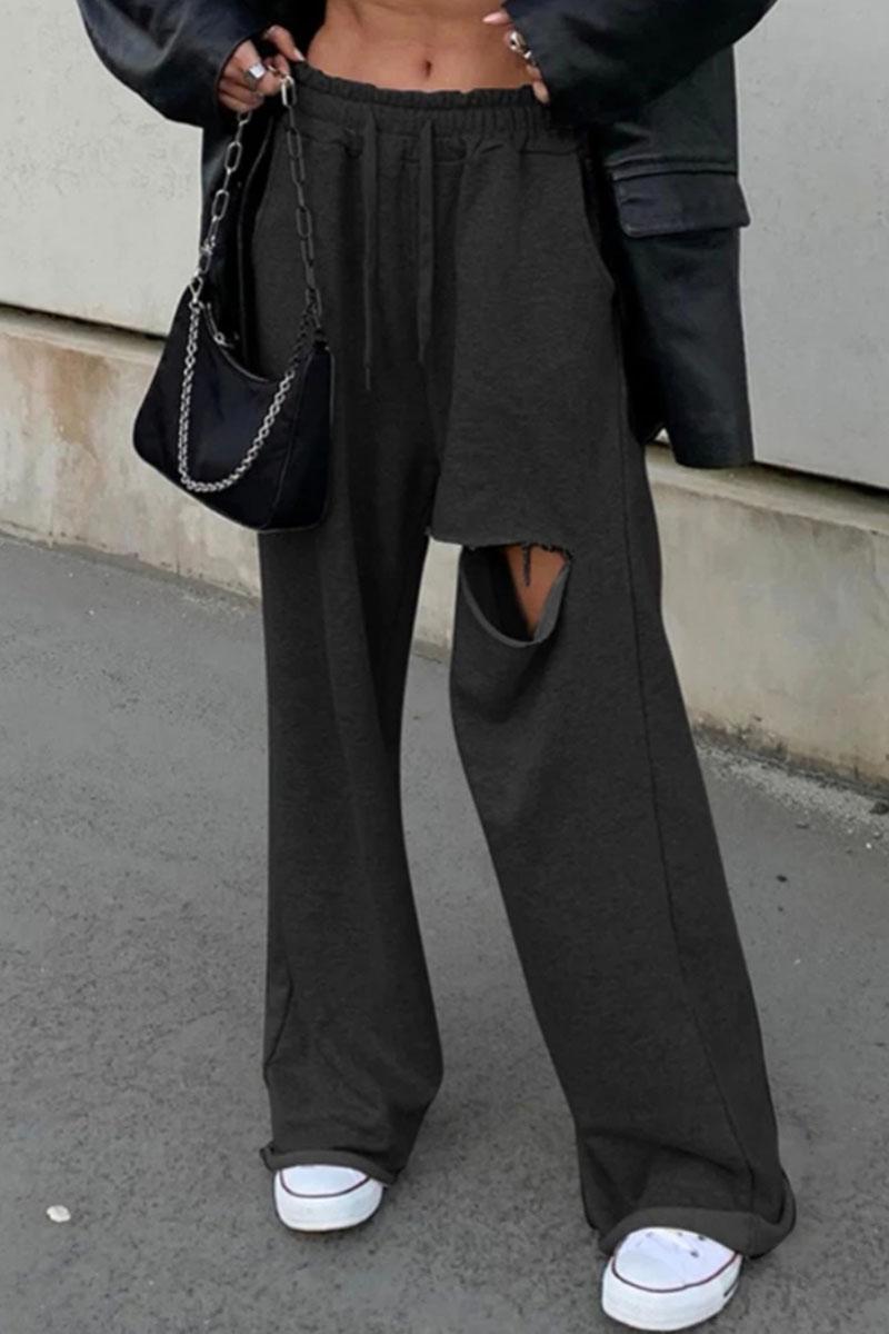 Παντελόνι φούτερ με σκίσιμο - Μαύρο