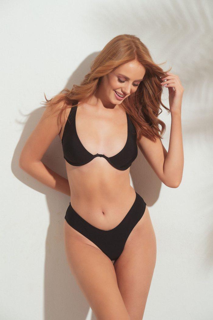 Μαγιό Set Bikini με μπανέλα - μαύρο