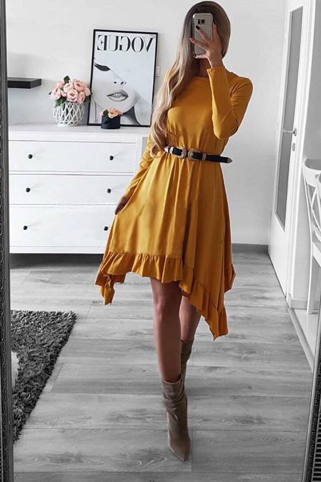 Φόρεμα μουσταρδί ασύμμετρο