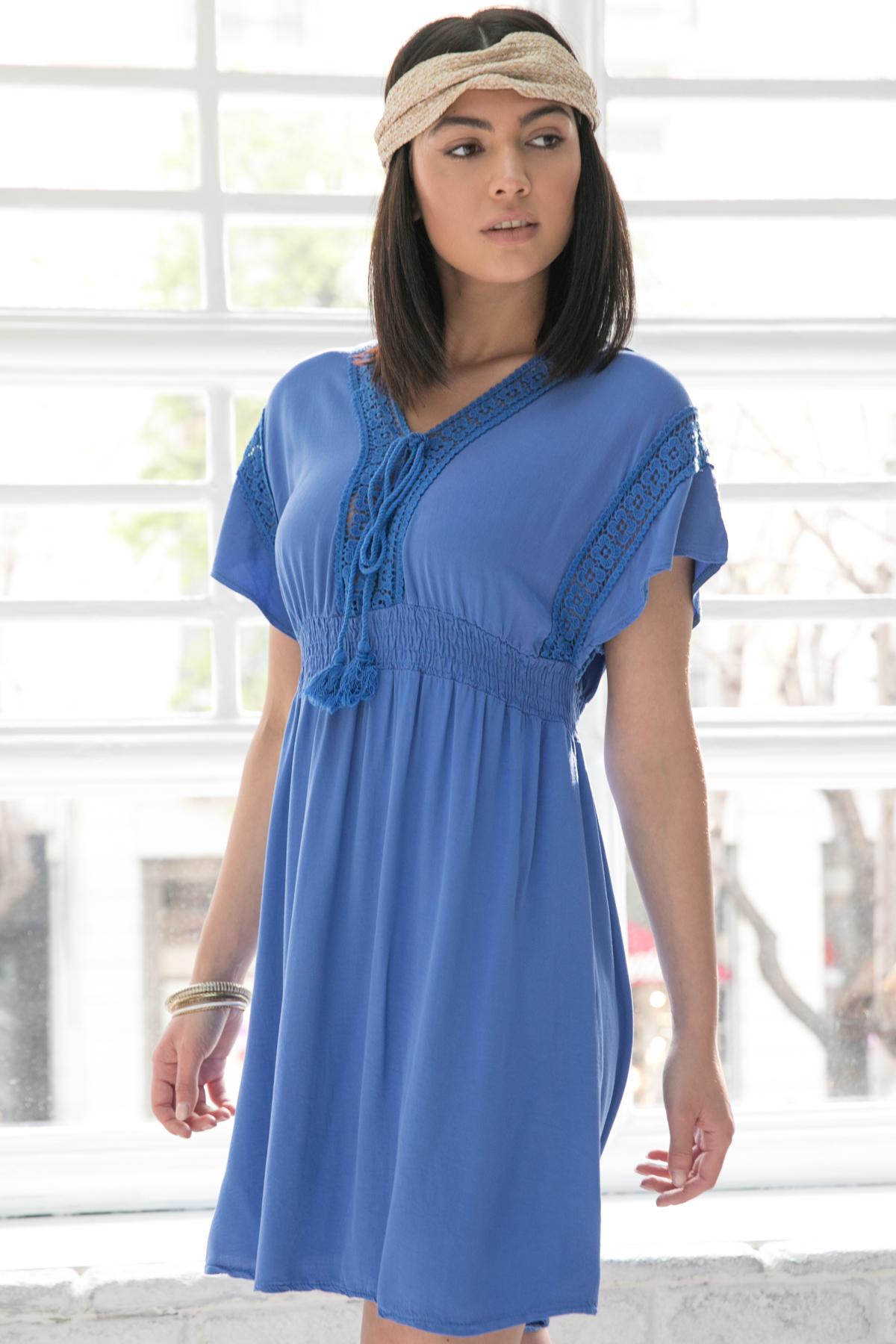 71d6684b3a25 Φόρεμα μπλε ρουά με δαντέλα