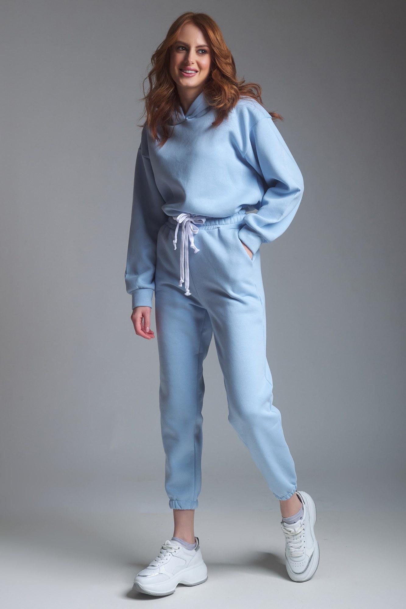 Σετ φόρμες σιέλ φούτερ με κουκούλα στην μπλούζα