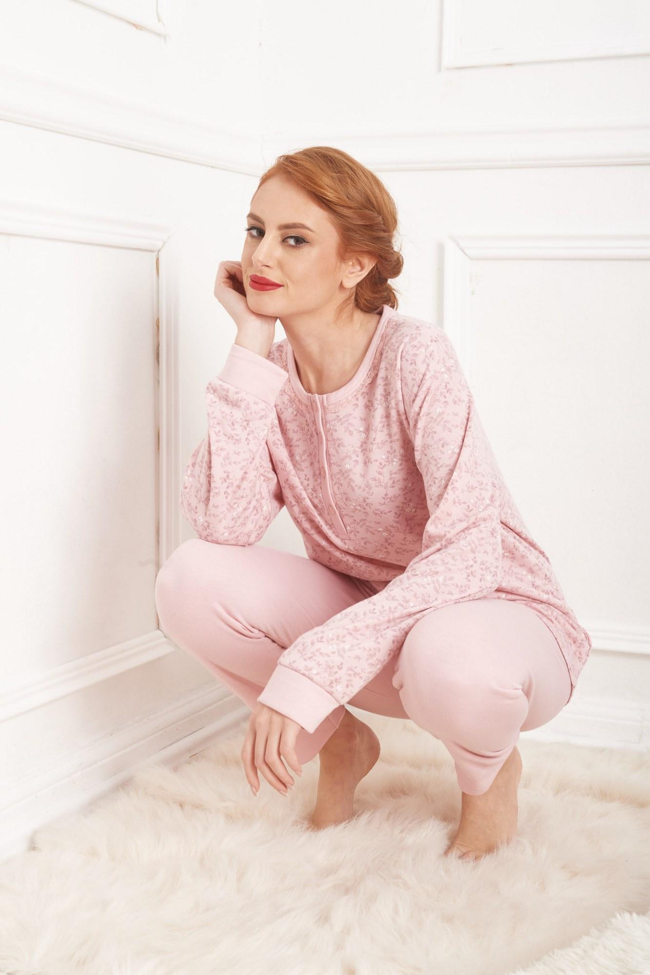 Σετ πυτζάμες ροζ με ανθάκια στη μπλούζα