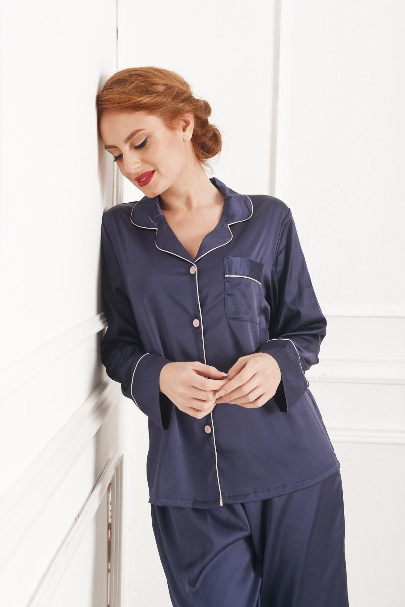 Σετ πυτζάμες μπλε με μακρύ μανίκι και τσέπη