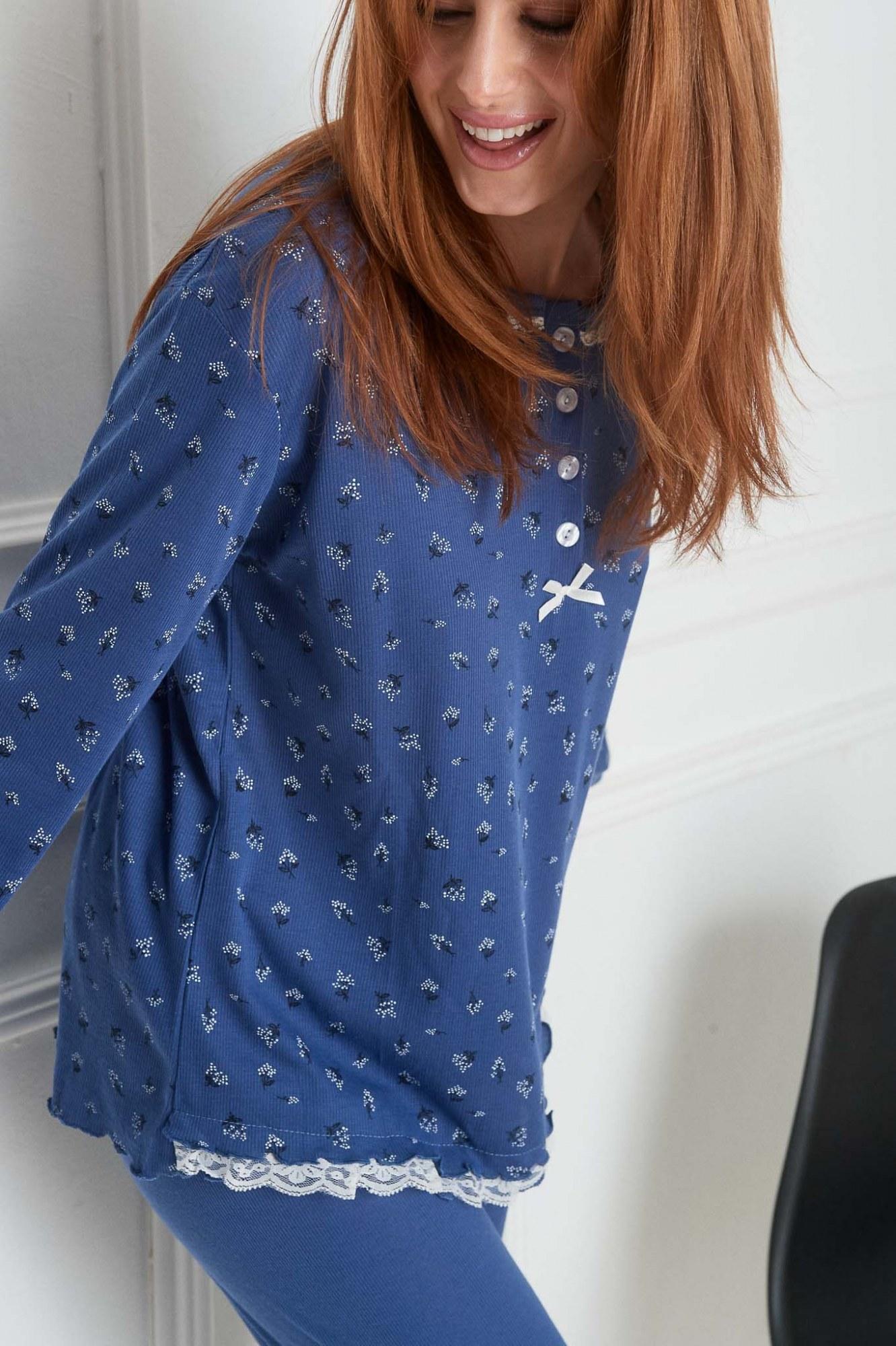 Σετ πυτζάμες μπλε ανθάκια και λάστιχο στο κάτω μέρος