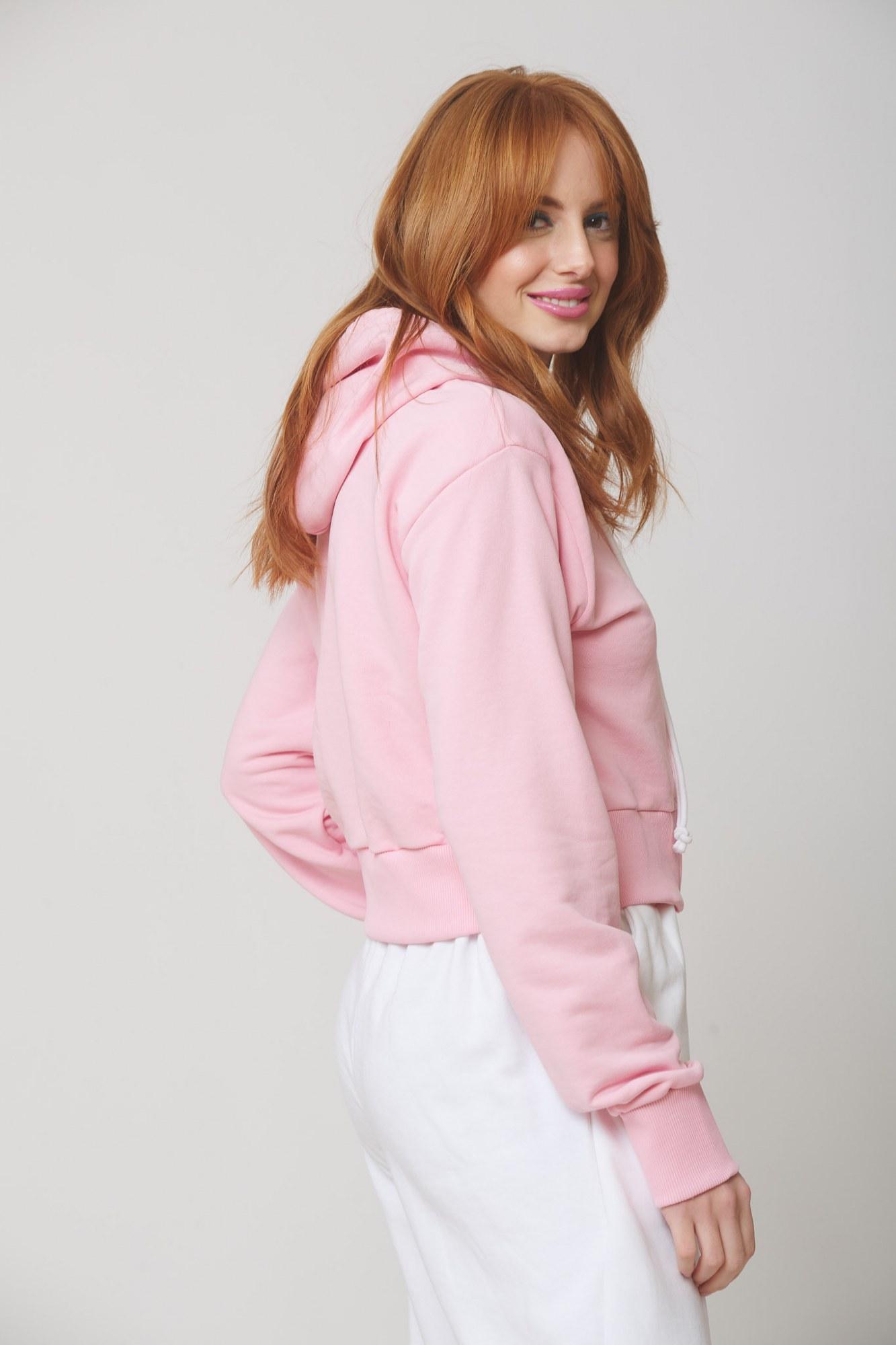 Ζακέτα ροζ φούτερ cropped με κουκούλα