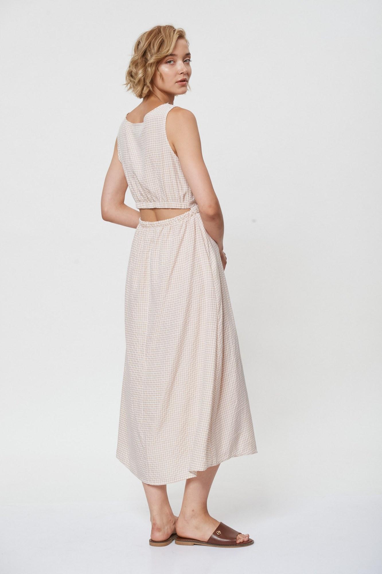 Φόρεμα καρό με άνοιγμα στην πλάτη Bertha - Μπεζ