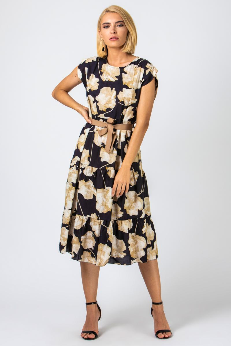 Φόρεμα μαύρο floral με ζώνη