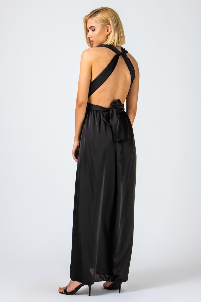 Φόρεμα μαύρο σατέν εξώπλατο