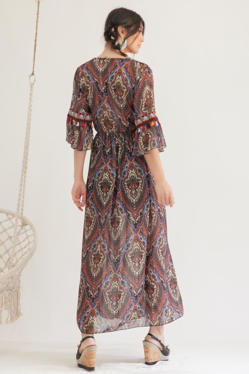 e7141a52381 Φόρεμα maxi μπορντό εμπριμέ