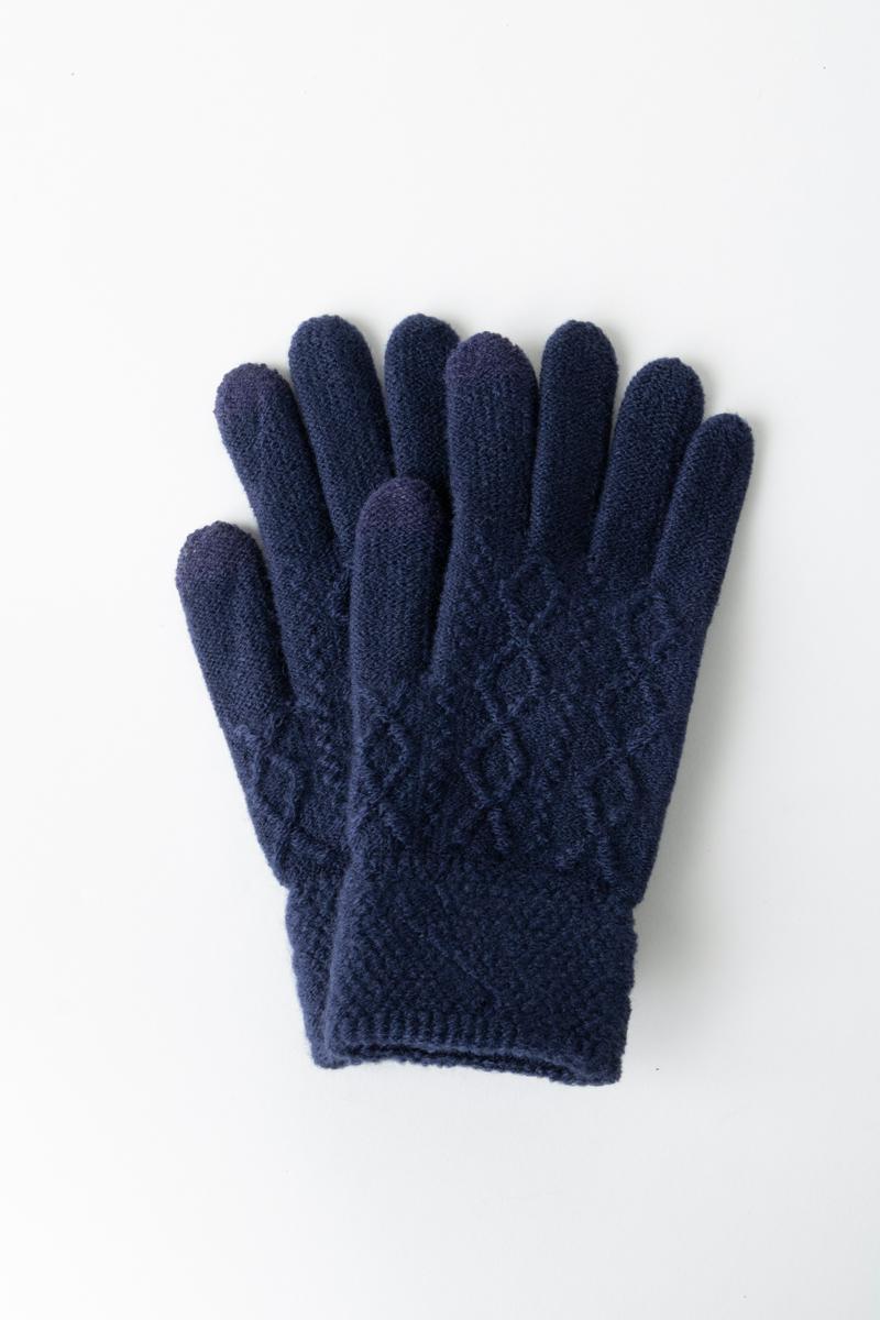 Σετ γάντια μπλε με σχέδιο στην πλέξη