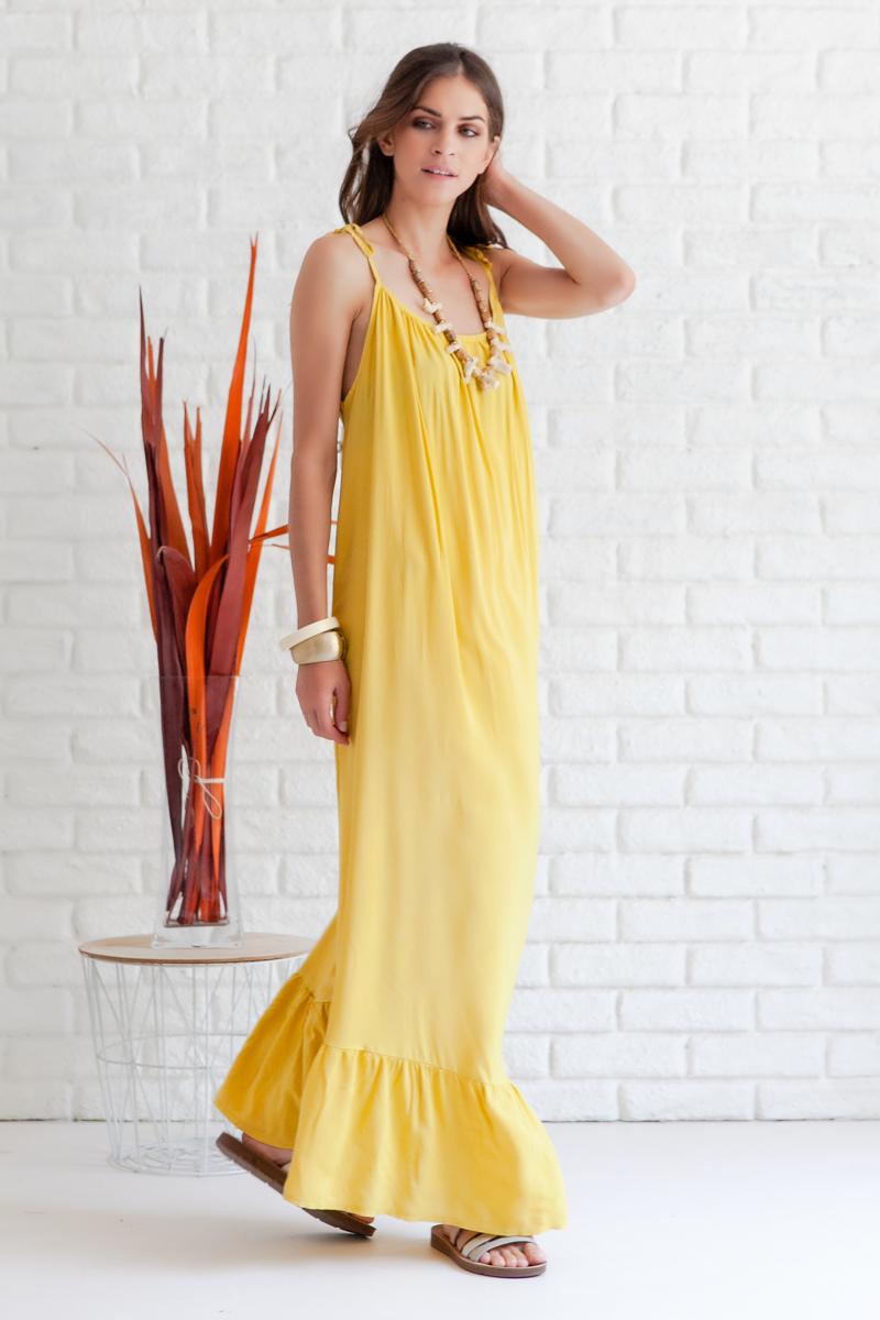 e29477a6c28 Φόρεμα κίτρινο μακρύ με ανοιχτή πλάτη