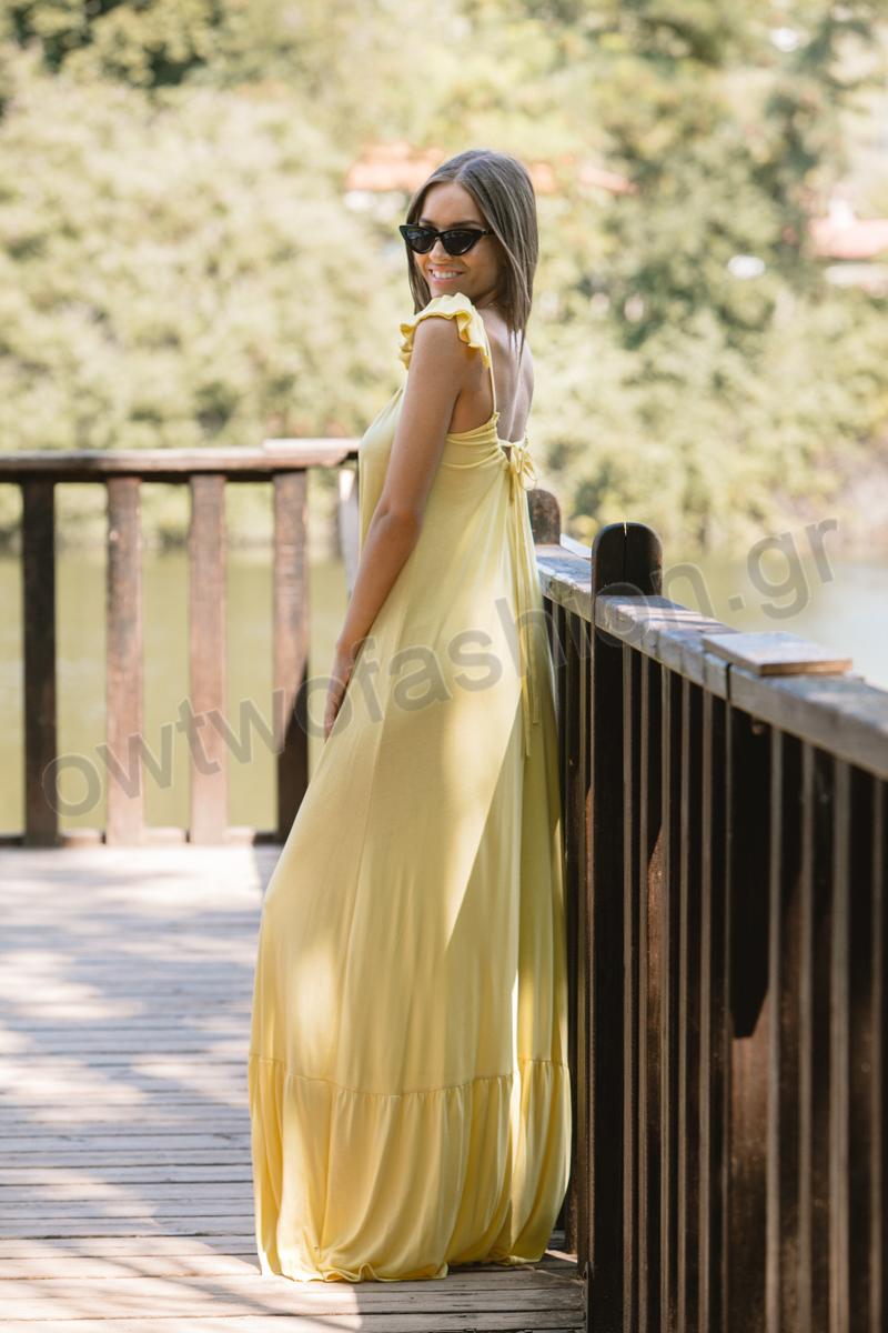 fee9aacf16c0 Φόρεμα κίτρινο μακρύ με βολάν