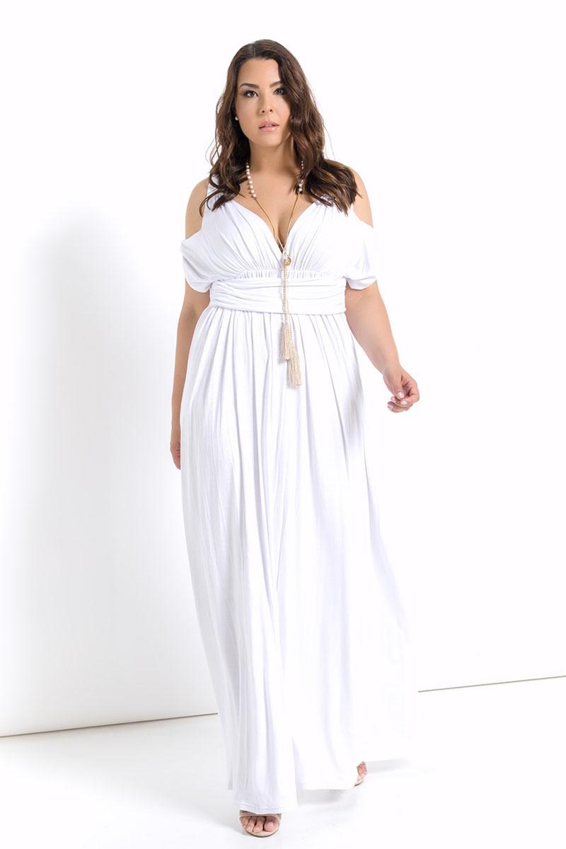 a0b54d16447 Φόρεμα λευκό μακρύ με άνοιγμα στους ώμους