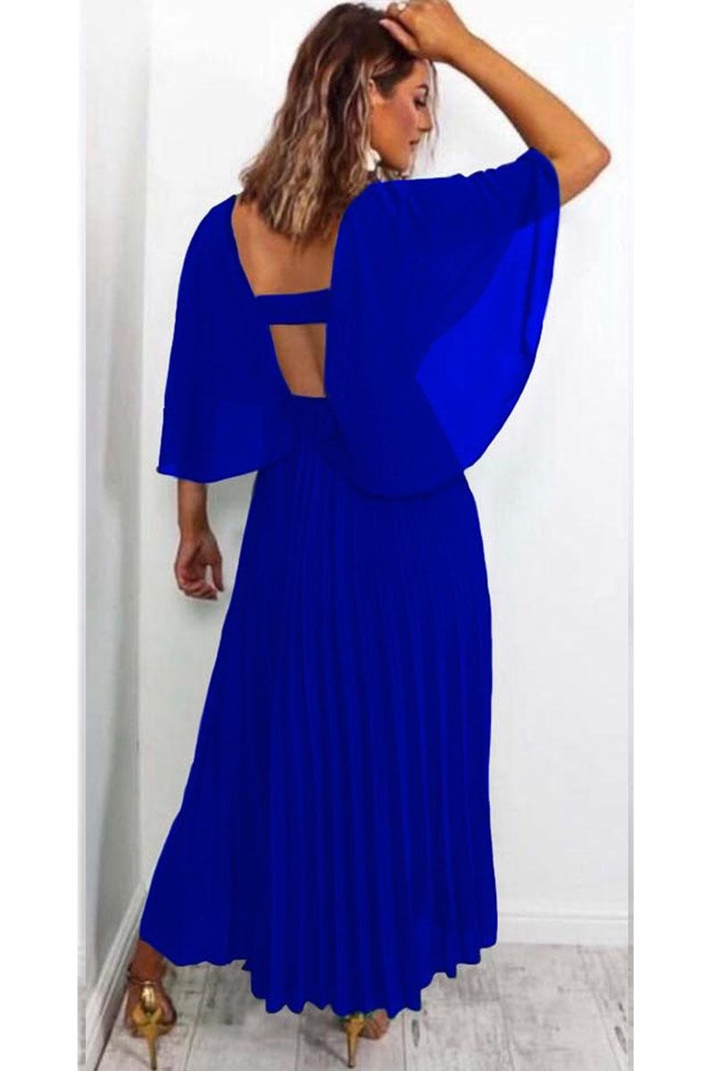 61406f9861f0 Φόρεμα μπλε ρουά τούλινο πλισέ v-cut