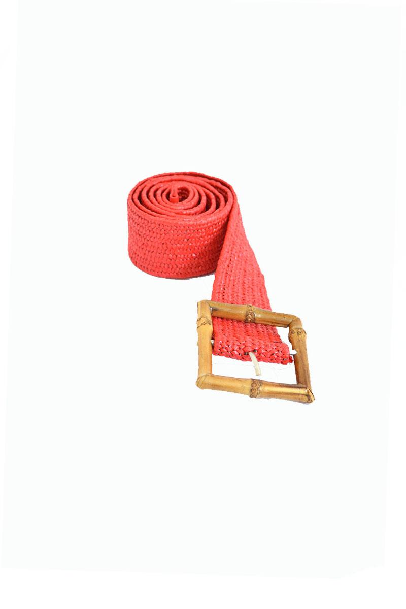 Ζώνη κόκκινη με μπαμπού αγκράφα