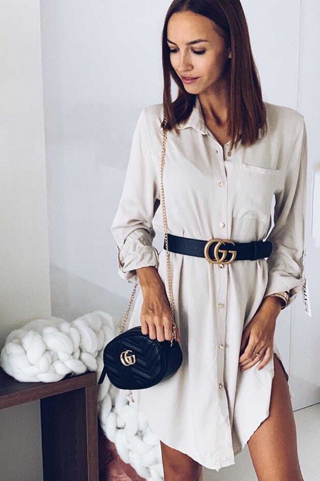 Φόρεμα μπεζ με κουμπιά και τσέπη ... a0fb6cf0b2e