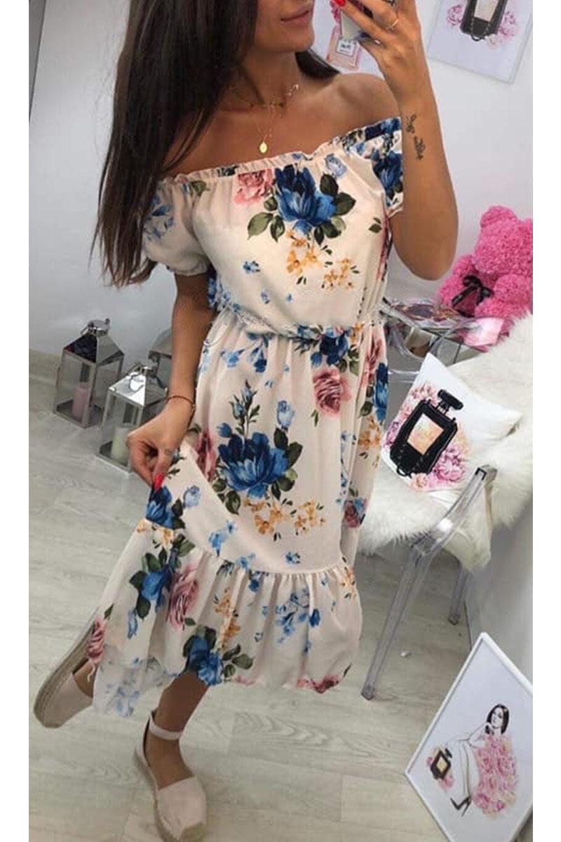 Φόρεμα μπεζ floral off shoulder