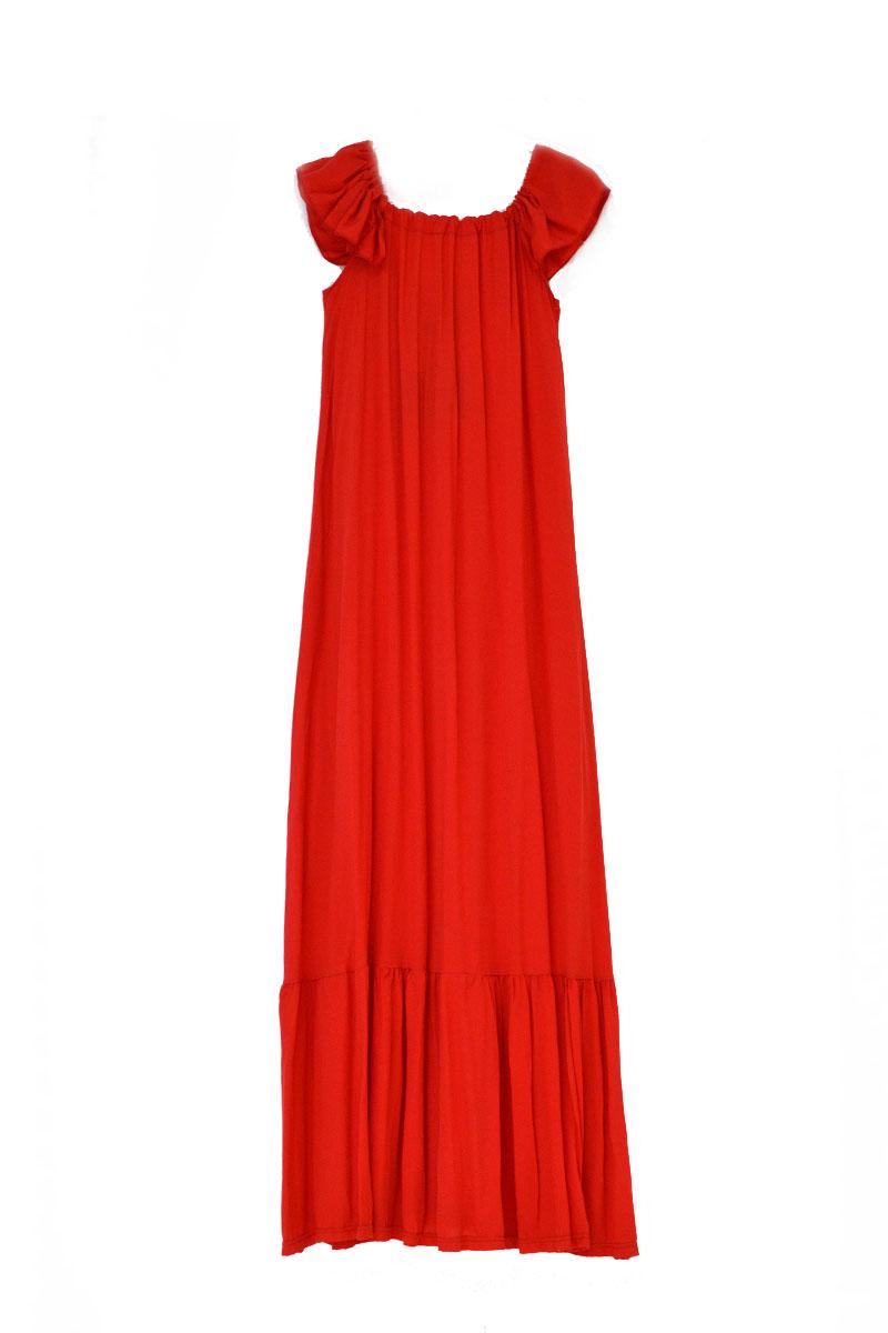 Φόρεμα κόκκινο μακρύ με βολάν