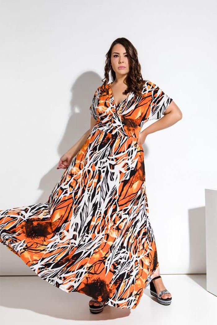 50ba17da412 Φόρεμα εμπριμέ πορτοκαλί κοντομάνικο V-cut