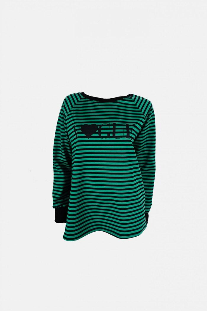 Mπλούζα πράσινη ριγιέ με σχέδιο στάμπα Mπλούζα πράσινη ριγιέ με σχέδιο  στάμπα ... 446d9cb8c85