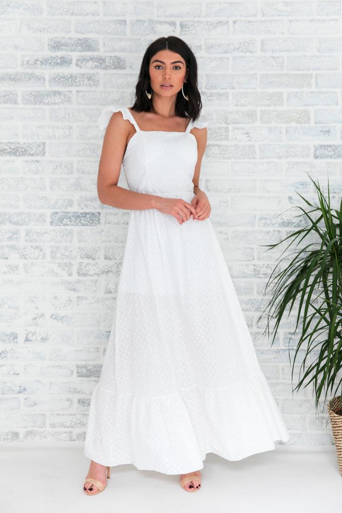 998ec0dd663f Φόρεμα λευκό κυπούρ