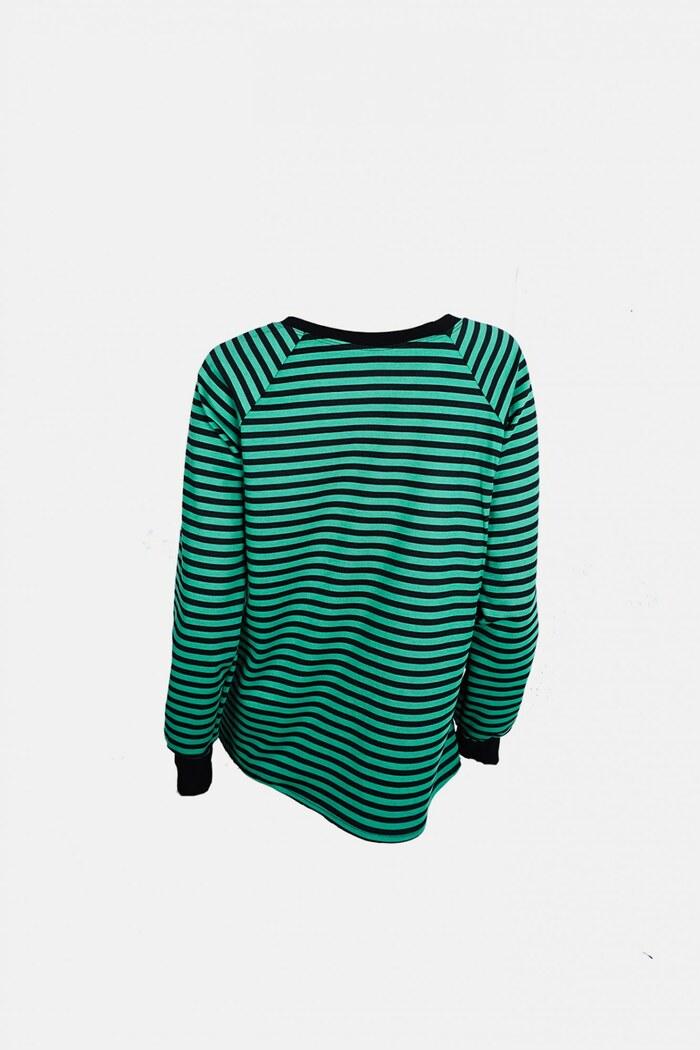 ... Mπλούζα πράσινη ριγιέ με σχέδιο στάμπα 8f61be8659b