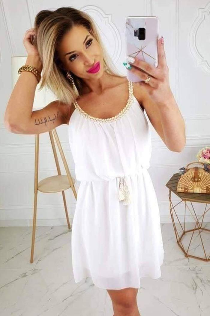 423696134ccf Φόρεμα λευκό με ράντες