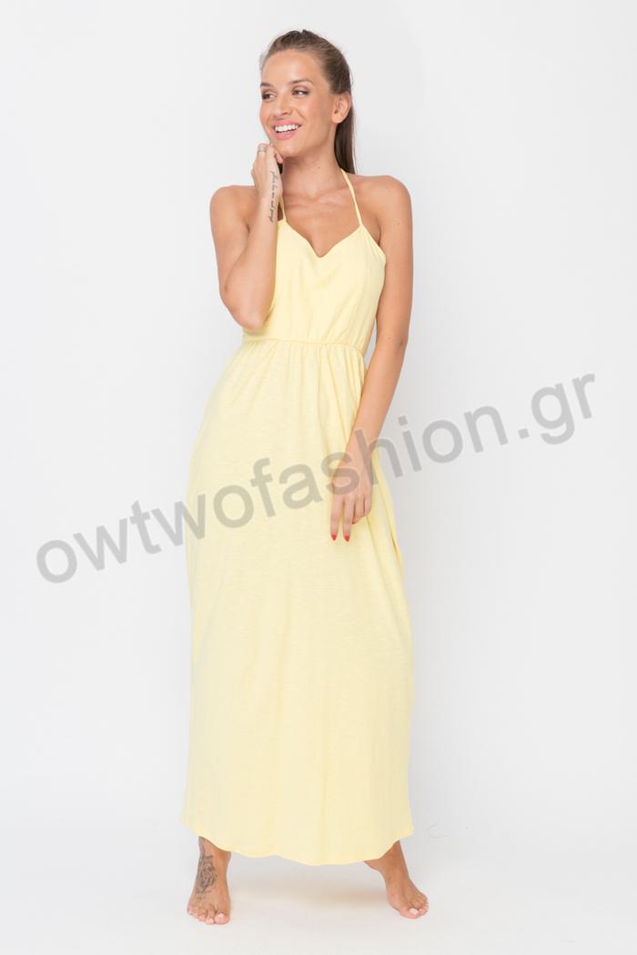 Φόρεμα κίτρινο με ανοιχτή πλάτη Φόρεμα κίτρινο με ανοιχτή πλάτη ... cd1139a27a1