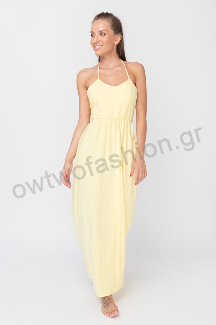 ... Φόρεμα κίτρινο με ανοιχτή πλάτη c9ffc26c2c8