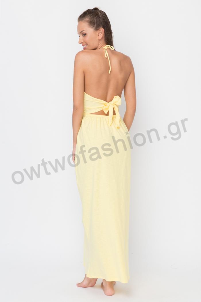 Φόρεμα κίτρινο με ανοιχτή πλάτη ... 6ba23520064