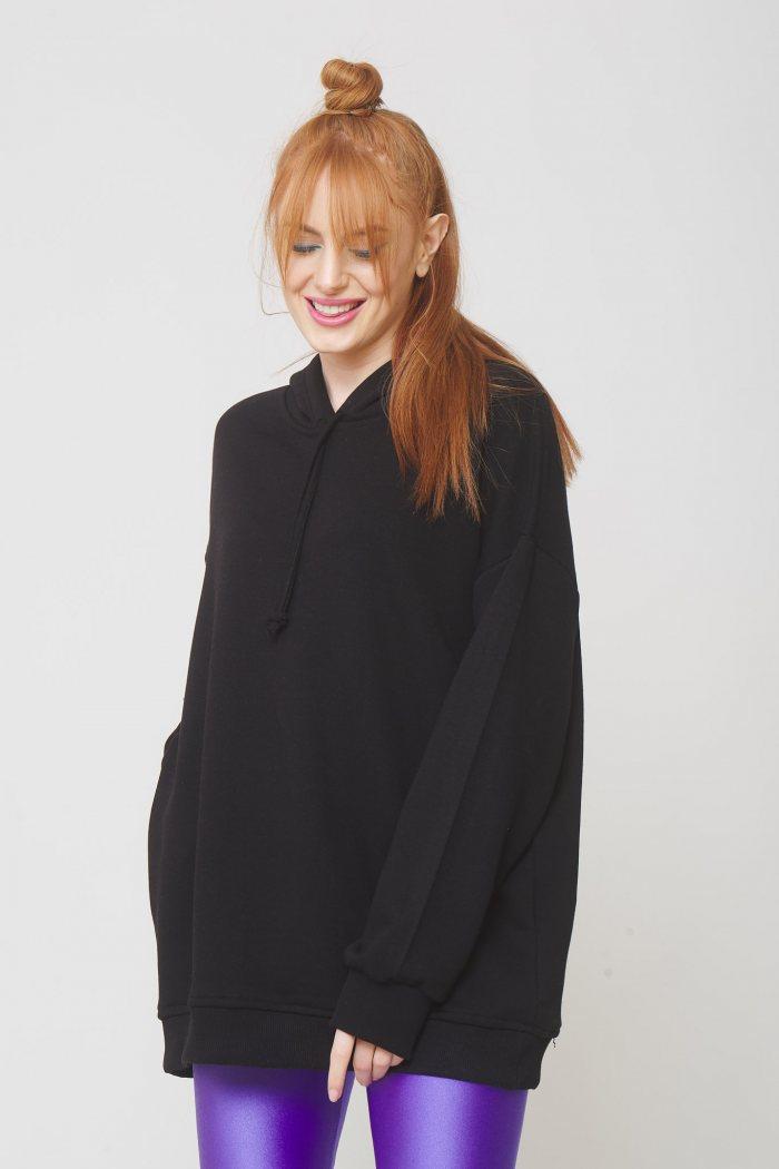 Μπλούζα oversized φούτερ με κουκούλα - Μαύρο