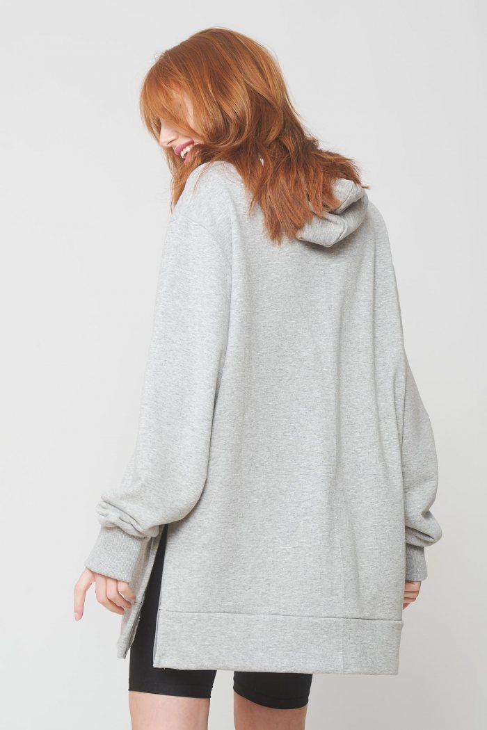 Μπλούζα φούτερ oversized με φερμουάρ στο πλάι - Γκρι