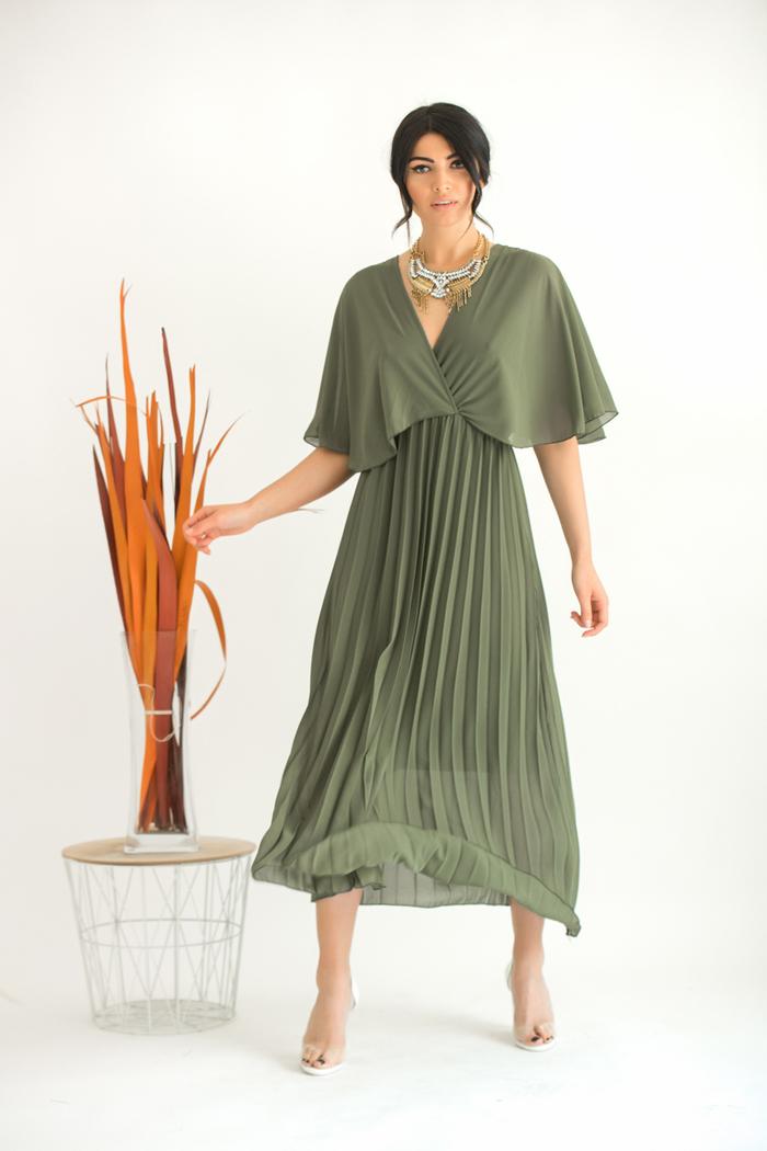 e27da7bd8e01 Φόρεμα χακί τούλινο πλισέ v-cut