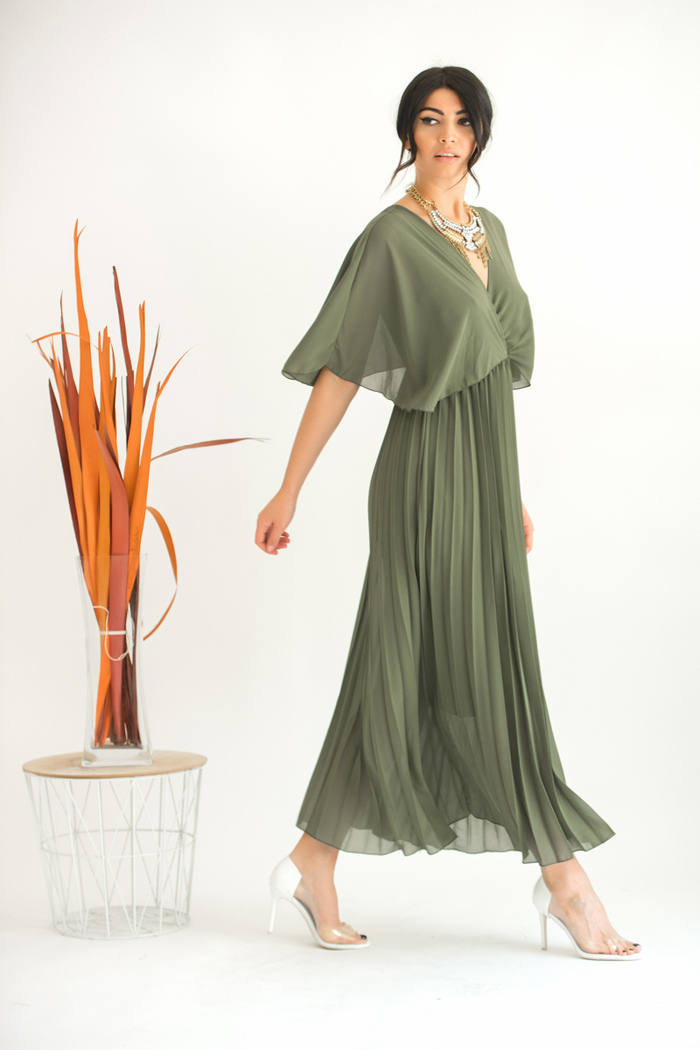 cea63c90f062 Φόρεμα χακί τούλινο πλισέ v-cut
