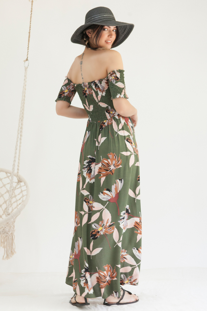 f3ed0c3015e5 Φόρεμα χακί εμπριμέ