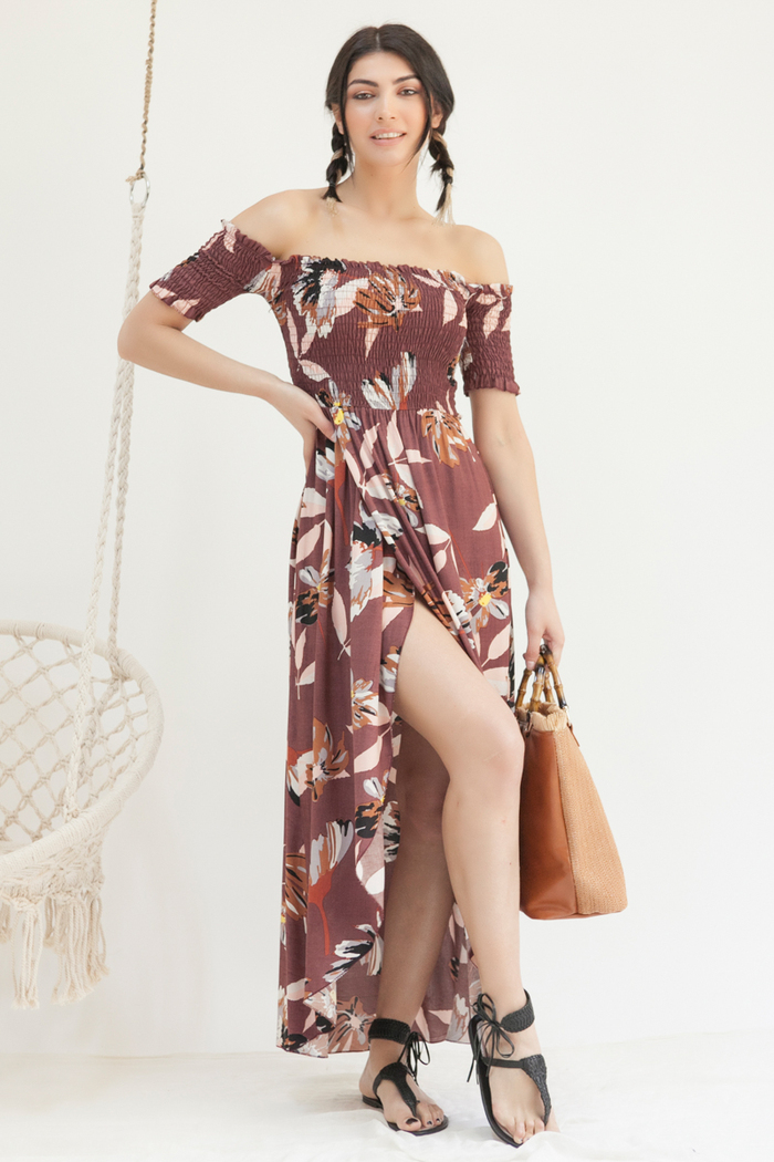 cc139d7ade0e Φόρεμα μπορντό εμπριμέ