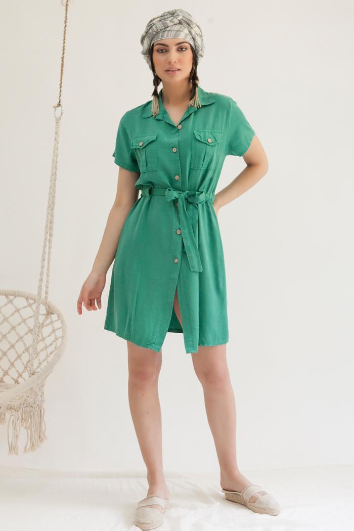 29ba407763d6 Φόρεμα με γιακά πράσινο