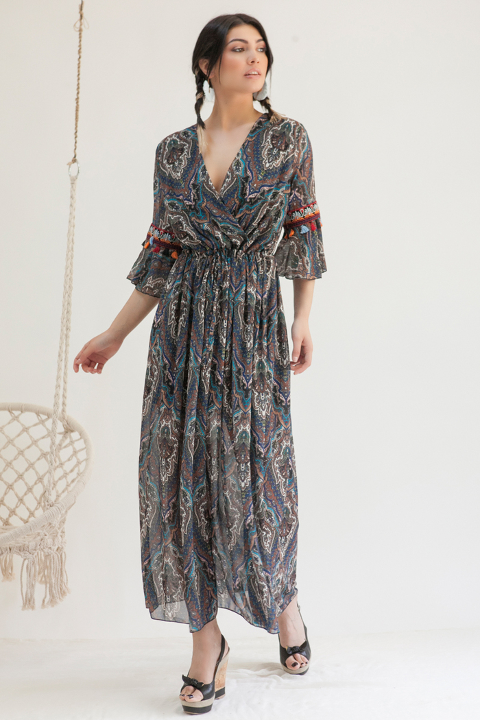 f0da16959ef2 Φόρεμα maxi μπλε εμπριμέ