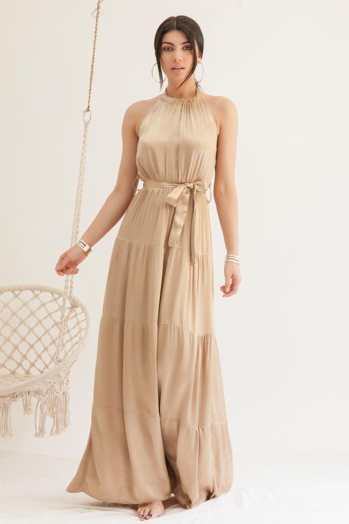 a983ceed97c1 Φόρεμα maxi μπεζ