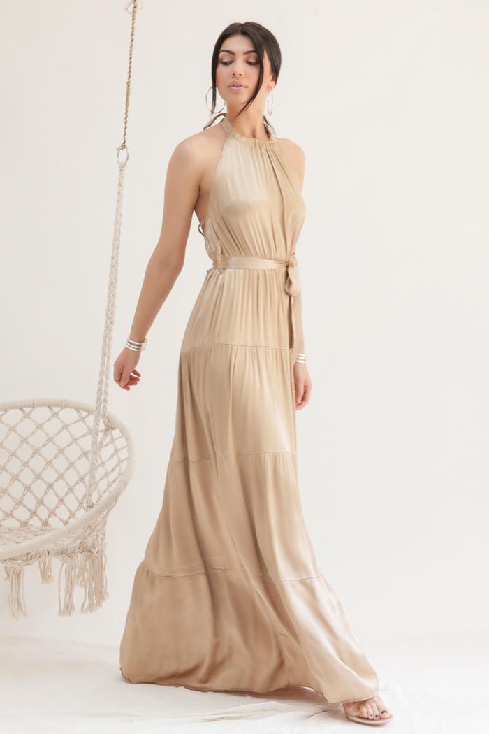 c489f8a0791a Φόρεμα maxi μπεζ