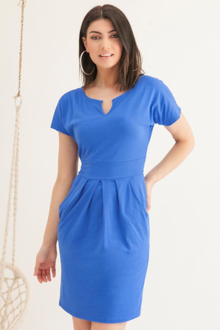 196b7c7238b6 Φόρεμα κοντομάνικο μπλε ρουά με τσέπες