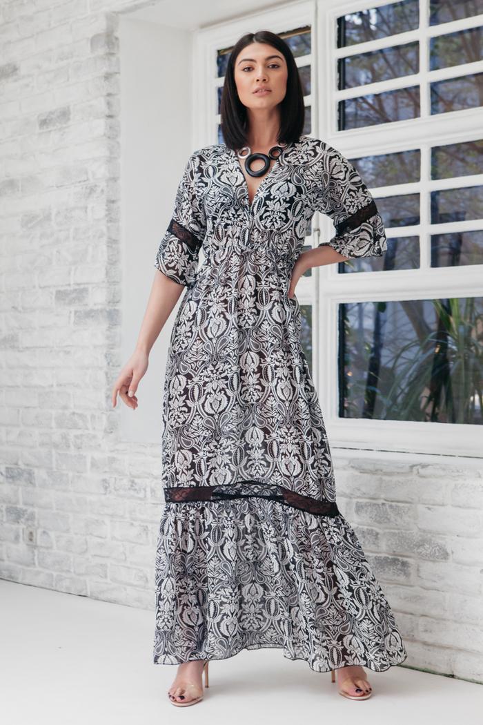 0310dcf40d22 Φόρεμα μακρύ εμπριμέ γκρι