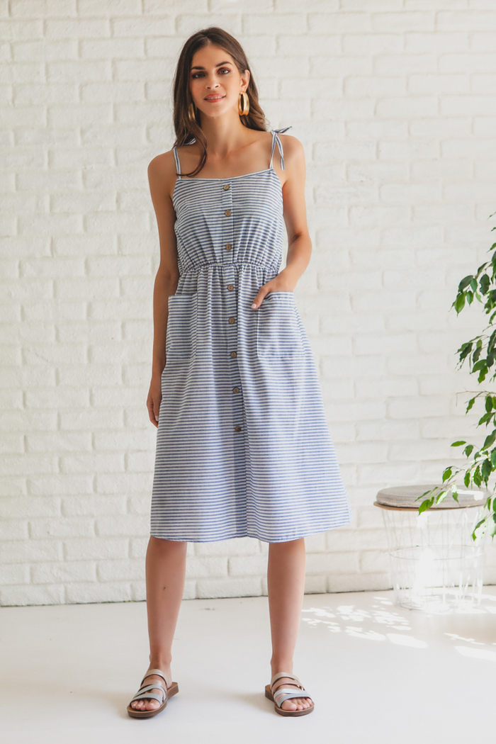 195324d7d54 Φόρεμα σιέλ ριγέ με τσέπες