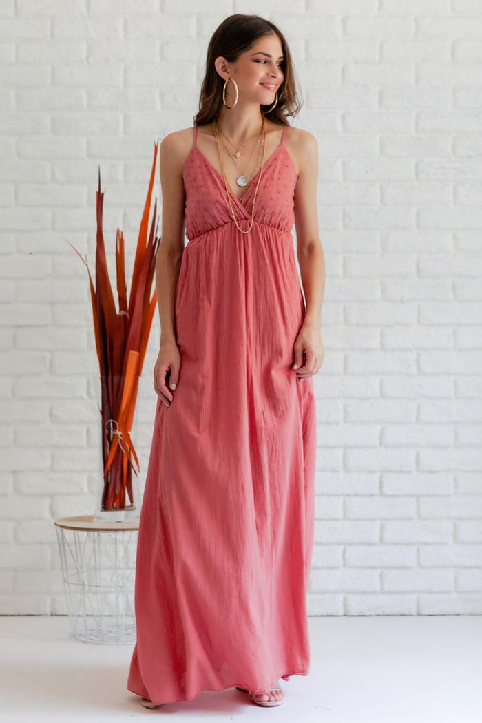 dbac9770cfd Φόρεμα σομόν κιπούρ μακρύ