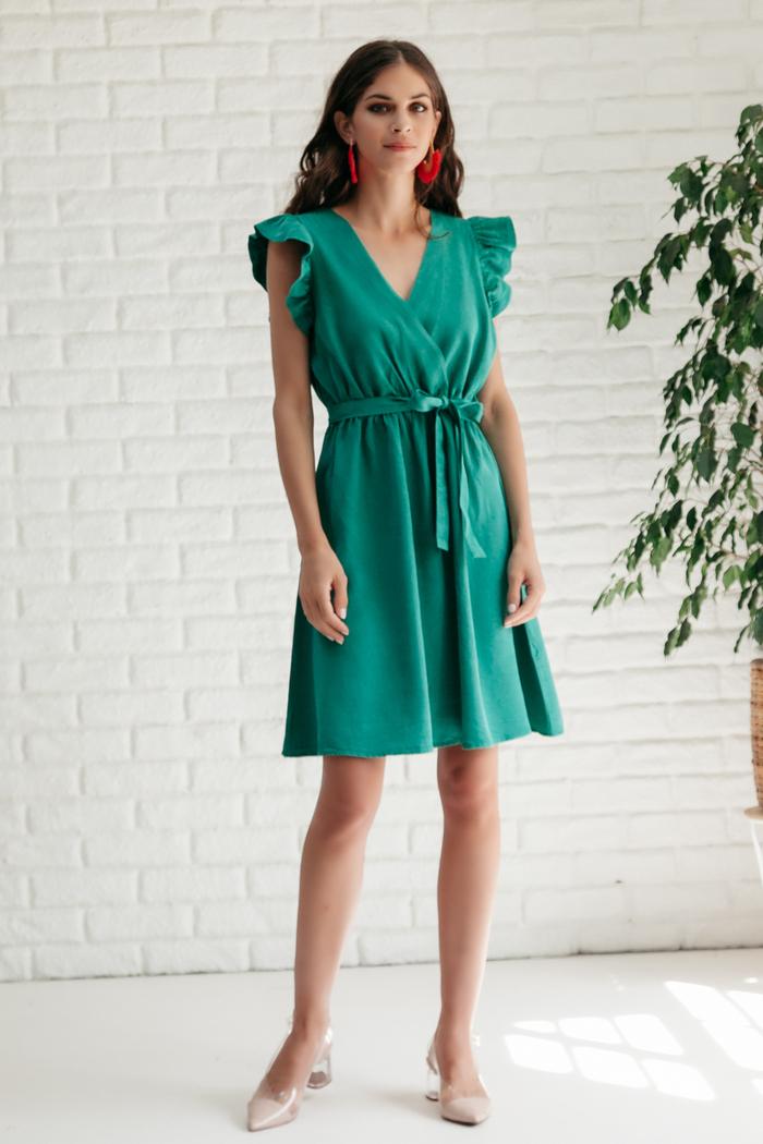 a1d08db4d9c Φόρεμα πράσινο με v-cut ντεκολτέ