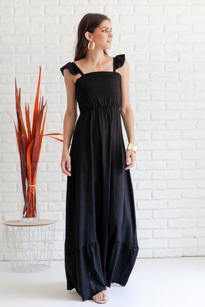 dbe55cddbb7 Φόρεμα μαύρο μακρύ με βολάν