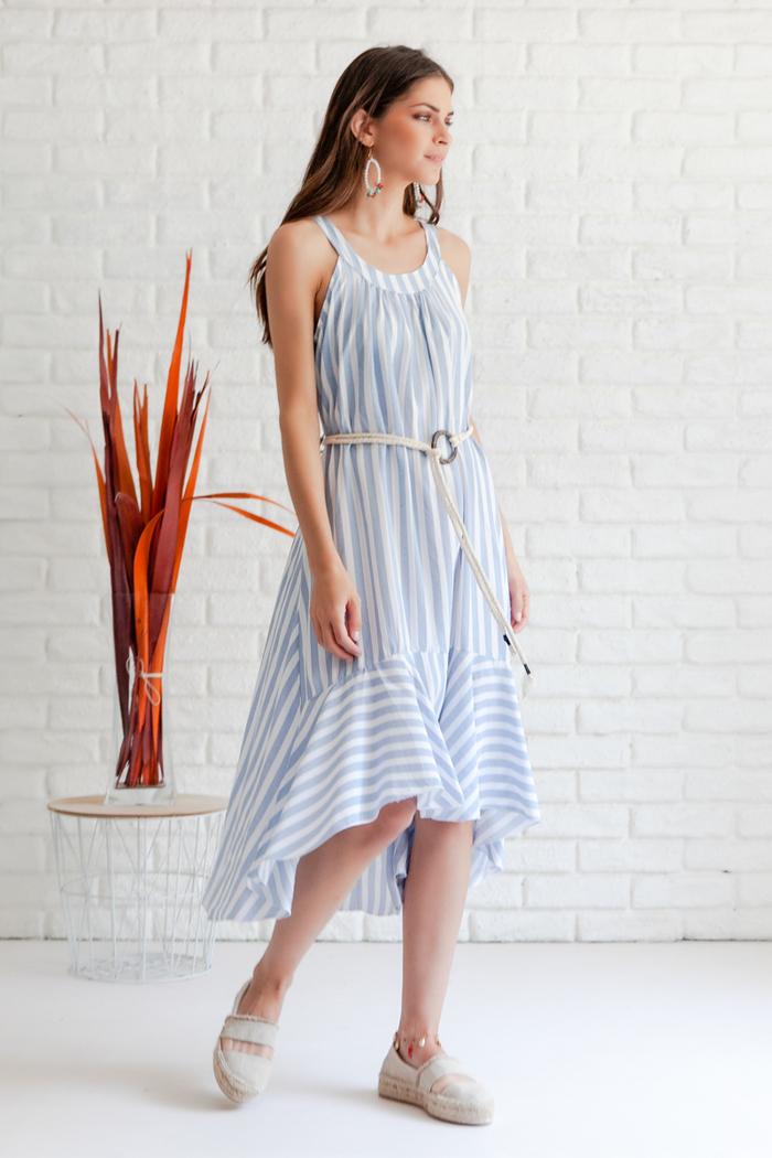fb34672eab3 Φόρεμα ριγέ σιέλ ασύμμετρο
