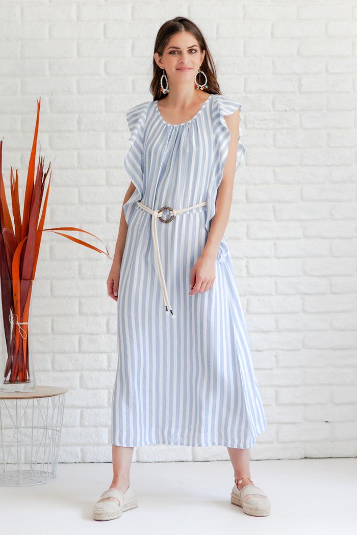 db0b95992eb Φόρεμα σιέλ ριγέ αμάνικο